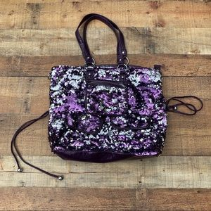 Purple Bling Sequin Oversized Bag / Crossbody
